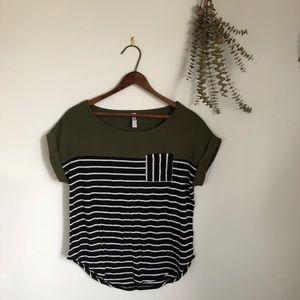 Olive & Striped Tunic Shirt